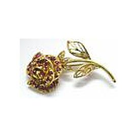 18Kt Rose Flower Gem Ruby & Diamond Pin / Brooch Yellow Gold 1.02CT