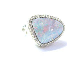 Fine Boulder Opall Diamond Yellow Gold HUGE Jewelry Ring 14KT 12.60CT