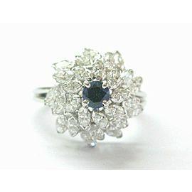 Solid Platinum Tanzanite & Marquise Diamond Cluster Jewelry Ring 2.05Ct