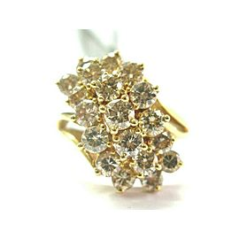 Fancy Brown Cluster Diamond Ring Solid 14Kt Yellow Gold 19-Stones 3.00CT