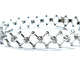 Fine Round Cut Diamond Bezel Set Zig-Zag Tennis Bracelet White Gold 1.02CT