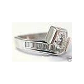 NATURAL Round & Baguette Solitaire Engagement Diamond Ring 1.13Ct 14KT