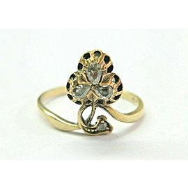 Vintage Table Cut Diamond Yellow Gold Jewelry Ring .30Ct