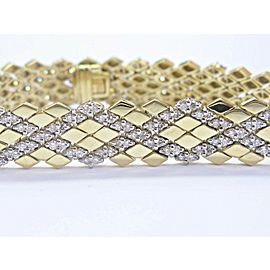 "18Kt Round Cut Diamond Yellow Gold Pattern Tennis Bracelet 7"" 10.6mm 4.40Ct"