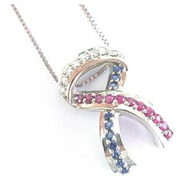 "RIbbon Ruby & Sapphire Diamond White Gold Pendant Necklace 14Kt 1.00Ct 16"" 1"""