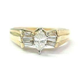 Marquise & Baguette Diamond Engagement Ring 14Kt Yellow Gold .70Ct F-VS1