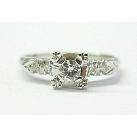 Vintage Old European & Single Cut Diamond White Gold Engagement Ring .26Ct