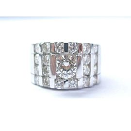 NATURAL Round Diamond Solitaire With Accent 4-Row Tension Setting Ring 2.30Ct