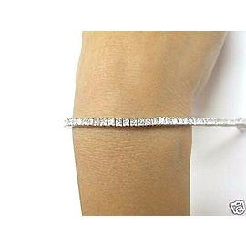 NATURAL 5.25CT Princess Cut Diamond Tennis Bracelet SOLID White Gold 14KT