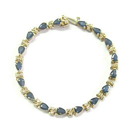 "Natural Ceylon Sapphire Diamond Yellow Gold Tennis Bracelet 14Kt 7"" 12.16CT"