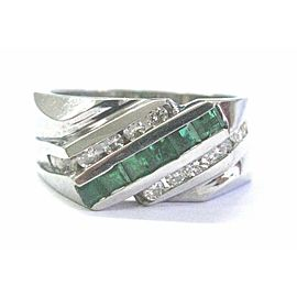 Fine Men's Green Emerald & Diamond White Gold 3-Row Ring 1.16Ct
