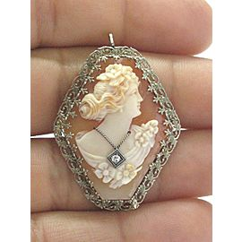 Fine Vintage Cameo Old European Diamond Pin/Brooch .02Ct