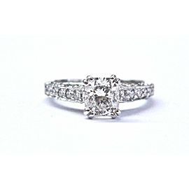 Palladium Scott Kay Cushion & Round Cut NATURAL Diamond Engagement Ring GIA