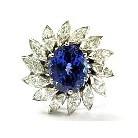 Platinum Natural Oval Tanzanite & Marquise Diamond Circular Ring 5.40Ct
