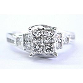 Fine Princess & Round Cut Diamond Invisible Setting White Gold Ring 1.00Ct 14KT