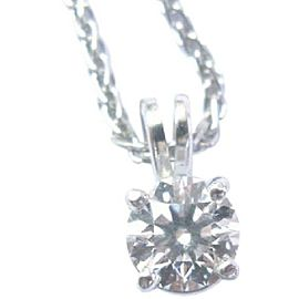 Platinum Round Cut Diamond Solitaire Pendant Necklace .70Ct F-VS1 16""