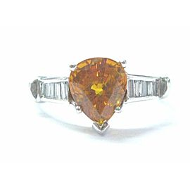 Yellow Sapphire & Diamond Ring 14Kt Whtie Gold 4.10Ct