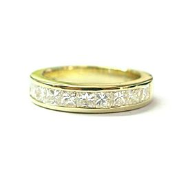 Princess Cut Diamond Band 18Kt Yellow Gold 8-Stones .80Ct