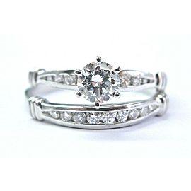 Platinum Round Cut Diamond Wedding Set Rings .75Ct
