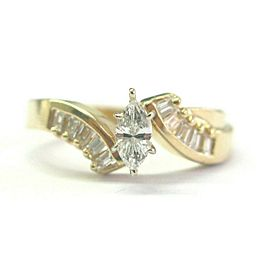 Marquise & Baguette Diamond Engagement Ring 14Kt Yellow Gold .75Ct F-VS1