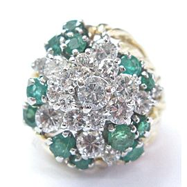 Natural Colombian Green Emerald Diamond Cluster Yellow Gold Ring 18Kt 2.44Ct