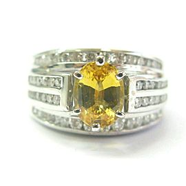 Oval Yellow Sapphire & Diamond Ring Solid 14Kt White Gold 3.26Ct G-VS2 SIZEABLE