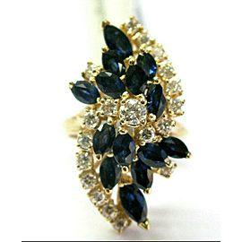 Blue Sapphire & Diamond Ring 14Kt Yellow Gold Long Flower 2.36Ct