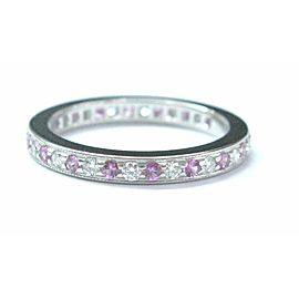Tiffany & Co Platinum Legacy Sapphire Diamond Milgrain Band Ring Size 4