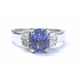 Platinum Gem Tanzanite Diamond Solitaire W Accent Jewelry Ring 2.18Ct