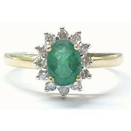Oval Green Emerald & Round Diamond Yellow Gold Anniversary 14Kt .93Ct