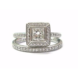 Ritani Platinum Princess Cut NATURAL Diamond Engagement Wedding Set 1.05CT