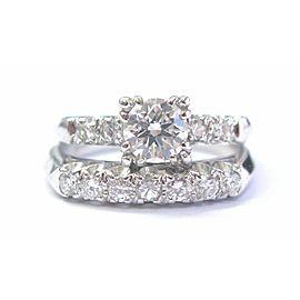 Fine Round Cut Diamond White Gold Solitaire W Accent Wedding Set 14KT .85Ct