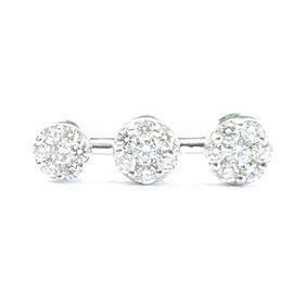 """Fine Round Cut Diamond Cluster Past Present Future White Gold Pendant 1.00Ct 1"""""""