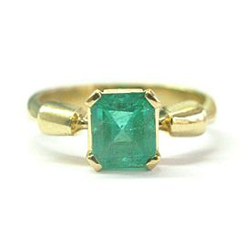 Colombian Green Emerald Solitaire Ring 18Kt Yellow Gold 1.30Ct SIZEABLE