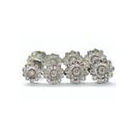Tiffany & Co Platinum Diamond Rose Graduated Drop Earrings .93Ct