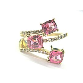 Pink Spinels & Diamond Ring 14Kt Yellow Gold 2.20Ct
