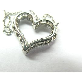 "Tiffany & Co Diamond Heart Pendant Necklace Platinum 950 .54Ct 16"""