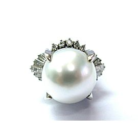 Platinum NATURAL South Seas Pearl Diamond Anniversary Jewelry Ring 13.6mm .94CT