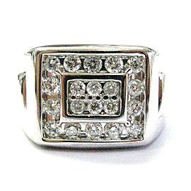 Fine Men's Round Cut Diamond Block Bling White Gold Jewelry Ring 1.16CT