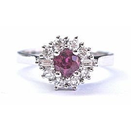 Natural Ruby Diamond Solid White Gold Anniversary Ring 18KT .98Ct AAAA/VS