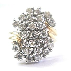 Fine Round Cut Diamond Cluster Jewelry Ring Yellow Gold 2.45Ct
