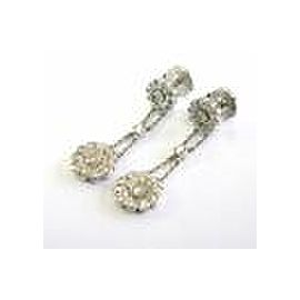 Tiffany & Co Platinum Diamond Rose Double Drop Earrings .59Ct