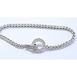 "Fine Round Cut Diamond Bezel Set White Gold Tennis Bracelet .75Ct 7"" 14KT"