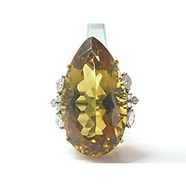 BIG Citrine & Diamond Ring 18Kt Yellow Gold 40.70Ct