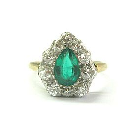 18kt Vintage Green Emerald & Old European Cut Diamond Ring 1.40Ct