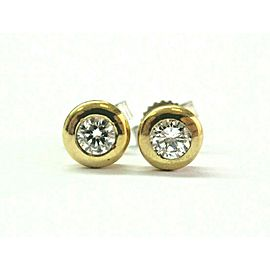 18Kt Round Cut Diamond Halo Yellow Gold Stud Earrings .50Ct G-VS2