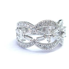 Fine Marquise Baguette & Round Diamond WIDE White Gold Jewelry Ring 1.17Ct