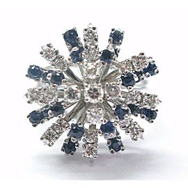 Fine Round Cut Diamond & Sapphire Cluster Jewelry Ring White Gold 1.20CT