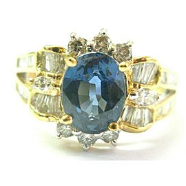 Oval Sapphire & Baguette Diamond Ring 18Kt Solid Yellow Gold 2.48Ct F-VS2