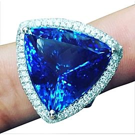 18Kt NATURAL Trillion Vivid Tanzanite Diamond White Gold Jewelry Ring 22.14Ct